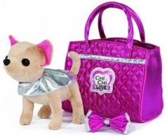 "Simba, Chi chi love Плюшевая собачка Чихуахуа ""Гламур"" с розовой сумочкой и бантом, 20 см"