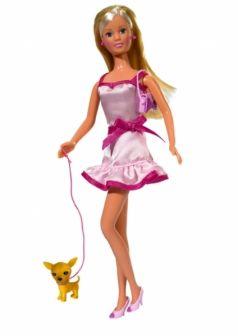 Simba, Кукла Штеффи + собачка + сумка (с распущенными волосами)