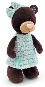 Orange, Мягкая игрушка Медведь девочка Milk стоячая в платье цвета мяты 30 см