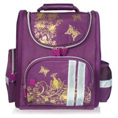 BRAUBERG Ранец для девочки Цветы (фиолетово-золотой)