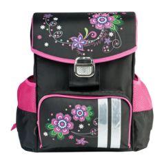 BRAUBERG Ранец жесткокаркасный для девочки Цветы (розовый, черный)