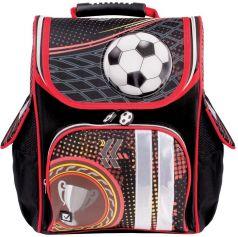 BRAUBERG Ранец жесткокаркасный для мальчика Футбол (черный, красный)