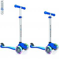 Y-Scoo Самокат 3-х колесный Globber Primo Fantasy с 3 светящимися колесами ROCKET Navy Blue