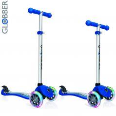 Y-Scoo Самокат 3-х колесный Globber Primo Fantasy с 3 светящимися колесами RACING Navy Blue