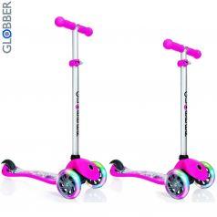 Y-Scoo Самокат 3-х колесный Globber Primo Fantasy с 3 светящимися колесами BIG Flowers Neon pink