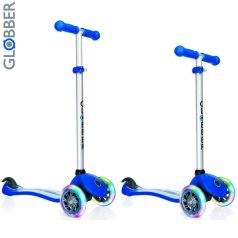 Y-Scoo Самокат 3-х колесный Globber Primo Fantasy с 3 светящимися колесами STARS&STRIPS Navy Blue