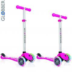 Y-Scoo Самокат 3-х колесный Globber Primo Fantasy с 3 светящимися колесами LOGO Neon pink