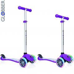 Y-Scoo Самокат 3-х колесный Globber Primo Fantasy с 3 светящимися колесами STARS Violet Neon Purple