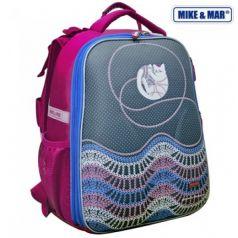 Mike&Mar Ранец школьный Котик с клубком (серый/розовый)