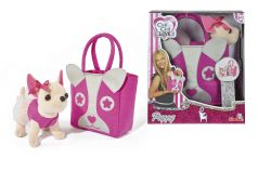 Simba Мягкая игрушка Плюшевая собачка Чихуахуа с розовой сумкой, 20 см