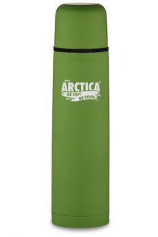 Арктика Термос с узким горлом классический с резиновым шёлковым покрытием 1 л зелёный