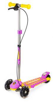 Small Rider Самокат 3-х колесный Cosmic Zoo Galaxy со светящимися колесами и ручным тормозом (желто-фиолетовый)