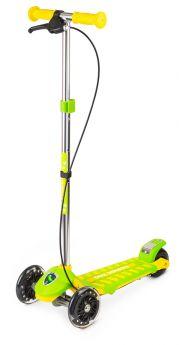 Small Rider Самокат 3-х колесный Cosmic Zoo Galaxy со светящимися колесами и ручным тормозом (зелено-желтый)