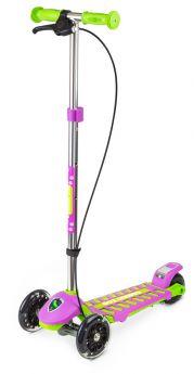 Small Rider Самокат 3-х колесный Cosmic Zoo Galaxy со светящимися колесами и ручным тормозом (зелено-фиолетовый)