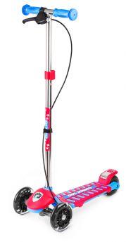 Small Rider Самокат 3-х колесный Cosmic Zoo Galaxy со светящимися колесами и ручным тормозом (сине-красный)