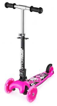 Small Rider Самокат 3-х колесный Randy Flash со складной ручкой и светящимися колесами розовый