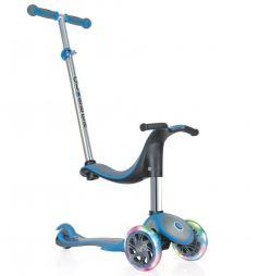 Globber Самокат EVO 4 в 1 Plus c подножками и 3 светящимися колесами голубой