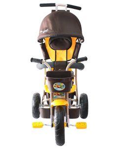 Galaxy Велосипед Лучик 3-х колесный с капюшоном (коричнево-желтый)