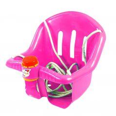 RT Детские качели с барьером безопасности с клаксоном розовые