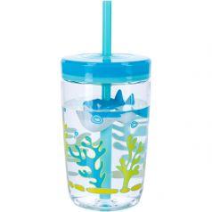 Contigo Стакан для воды Floating Straw Tumbler 0,47 литра с трубочкой голубой