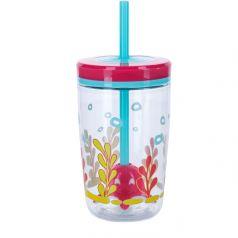 Contigo Стакан для воды Floating Straw Tumbler 0,47 литра с трубочкой розовый