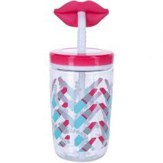 Contigo Стакан для воды Funny Straw 0,47 литра с трубочкой розовый