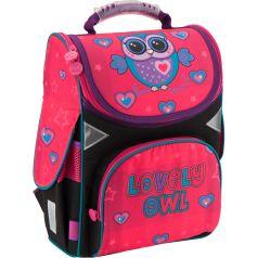GoPack Ранец школьный Lovely owl каркасный розовый