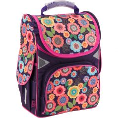 GoPack Ранец школьный каркасный Цветы фиолетовый