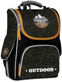 GoPack Рюкзак с ортопедической спинкой для первоклассника черный