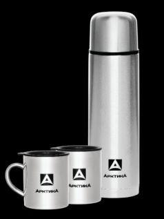 Арктика Термос 1 литр с 2 кружками по 0,3 литра серебряный