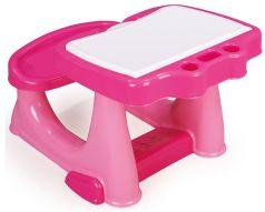 Dolu Парта со скамейкой и открывающейся столешницей розовая