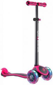Самокат трехколёсный Y-SCOO  GLOBBER PRIMO PLUS TITANIUM с 3 светящимися колесами Neon Pink 442-132