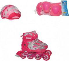 Коньки роликовые Navigator колёса ПВХ, в комплекте с защитой и шлемом, переднее колесо со светом, L (38-41), роз.