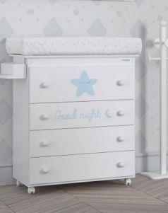 Комод пеленальный Micuna Istar (white-sky blue/матрасик stars grey)