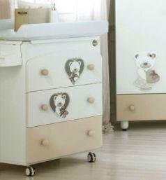 Пеленальный комод с ванночкой Baby Expert Bon Bon Duetto (белый/серо-бежевый)