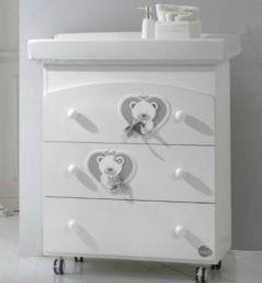 Пеленальный комод с ванночкой Baby Expert Bon Bon Duetto (белый/серый)