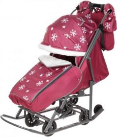 Санки-коляска PIKATE Снежинки до 45 кг малиновый ткань сталь (цвет рамы темно-серый)