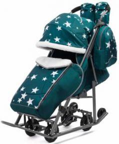 Санки-коляска PIKATE Звезды до 45 кг темно-зеленый ткань сталь (цвет рамы темно-серый)