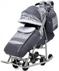 Санки-коляска PIKATE Скандинавия до 45 кг серый ткань сталь (цвет рамы темно-серый)