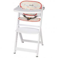 Стульчик для кормления Safety 1st Timba with Tray and Cushion (red lines/white wood)