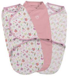Конверт на липучке 3 шт размер S/M Summer Infant Swaddleme (цветы-розовый бабочки/55966)