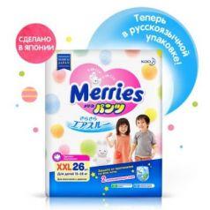 МERRIES Трусики-подгузники для детей XXL 15-28 кг / 26 шт