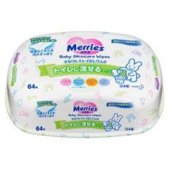 MERRIES Детские влажные салфетки Flushable Пластиковый контейнер 64шт