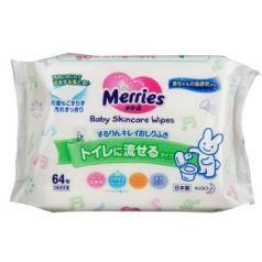 MERRIES Детские влажные салфетки Flushable Запасной блок 64шт