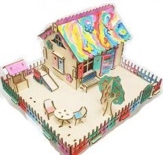 Сборная деревянная модель Домик для кукол Фантазия