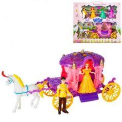 Набор игровой: карета роз., фигурки 2 шт, сменные наряды 2 шт., лошадка,  кор.