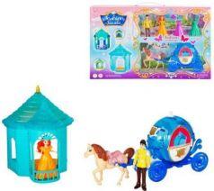 Набор игровой: карета син., фигурки 2 шт, сменные наряды 2 шт., лошадка, шатер, кор.