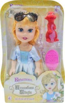 """1toy Красотка кукла """"Волшебная Сказка""""15 см с ПВХ дракончиком 5см,очками, расческой,13х19х5,5см,блистер"""