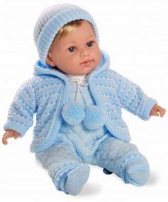 Кукла 1toy Elegance в голубом комбинезончике 42 см со звуком Т11102