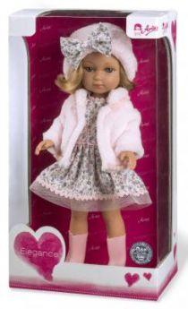 Arias ELEGANCE кукла винил. 36 см. в платье, шапочке, ботиночках, в кор. 20x12x37